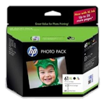 HP No 61XL J3N03AA Original Ink Cartridge High Yield Photo Value Pack (CH563WA & CH564WA x 1 ea + 60 sheets 6x4)