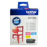 Brother LC-3319XL3PK Cyan, Magenta & Yellow High Yield Ink Cartridge Colour Pack (Up to 1,500 pages each)